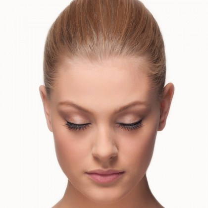 Mink Strip Lashes: Wispy Gaze front view eyes closed