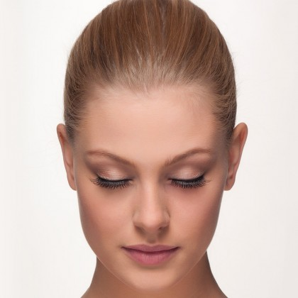 Mink Strip Lashes: Flared Desire front view eyes closed