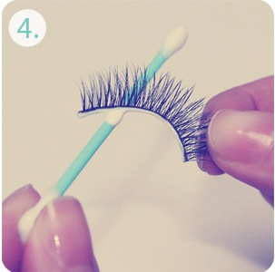 apply lash glue to false eyelashes